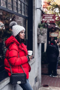 Red puffer jacket for Christmas