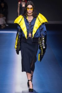 Contrasting color puffer jacket
